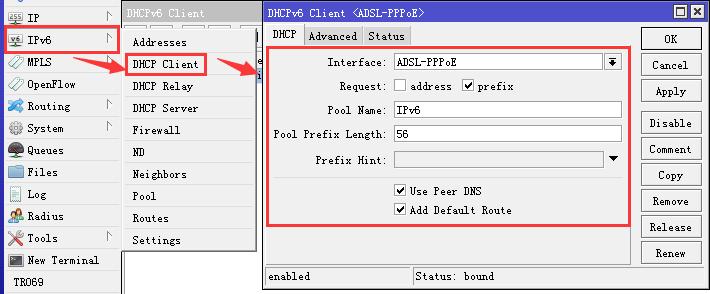 RouterOS配置原生IPv6(电信IPv4/IPv6双栈)